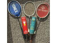 Badminton Racquets. 2 Carlton, 1 Yonnex. Covers, Shuttles.