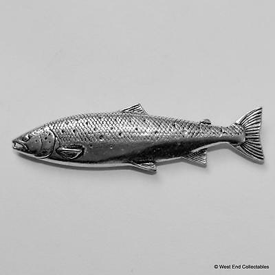 Rainbow Trout Pewter Pin Brooch -British Handcrafted- Fly Fishing Fish, Brown