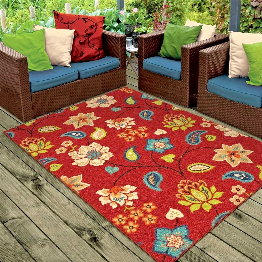 RUGS AREA RUGS 8x10 OUTDOOR RUGS INDOOR OUTDOOR CARPET FLORAL RED ...