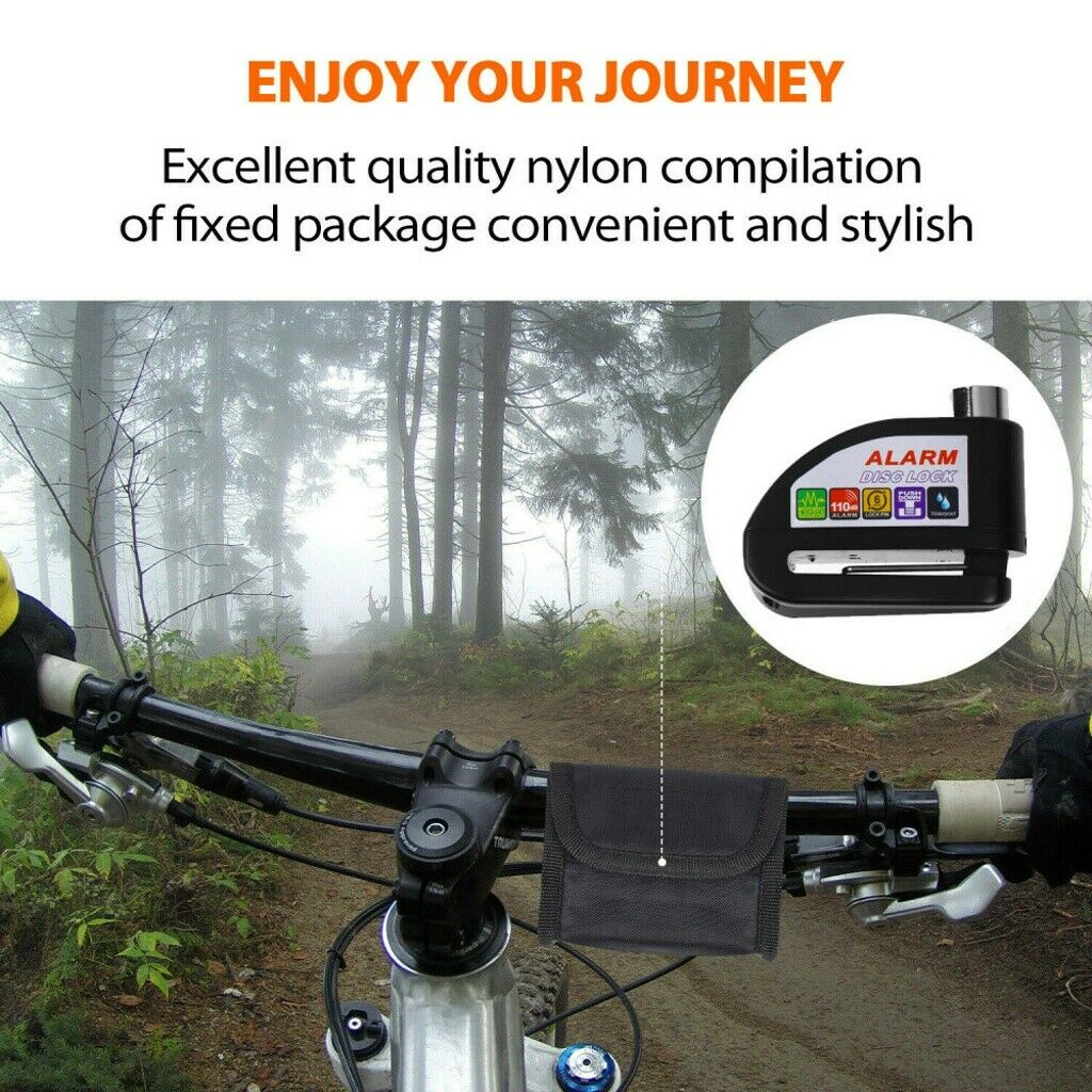 Waterproof Motorcycle Bike Anti-theft Wheel Disc Brake Lock+Security Alarm 110db