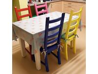 Retro Kitchen Table and 4 colourful chairs