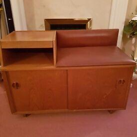 Vintage 60s wooden telephone table / seat / storage unit