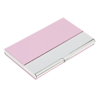 Stainless Steel Pu Id Credit Name Business Card Holder Case Box Wallet Pink