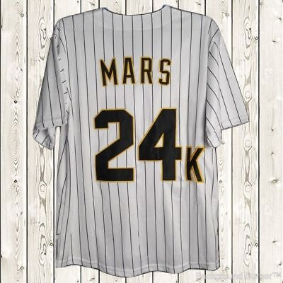 Bruno Mars  24K Hooligans Baseball Jersey Stiched Bet Awards Short  White S 3Xl