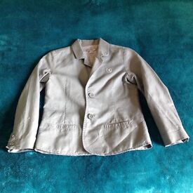 Grey boys linen mix jacket, 110cm