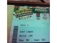 Two tickets for East Lower seats, row L. Saturday 20 May at 2.30. Good position in stadium.