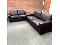 Extremely Comfy 2&3 Seater Genuine Brown Leather Sofa - ( local delivery free )