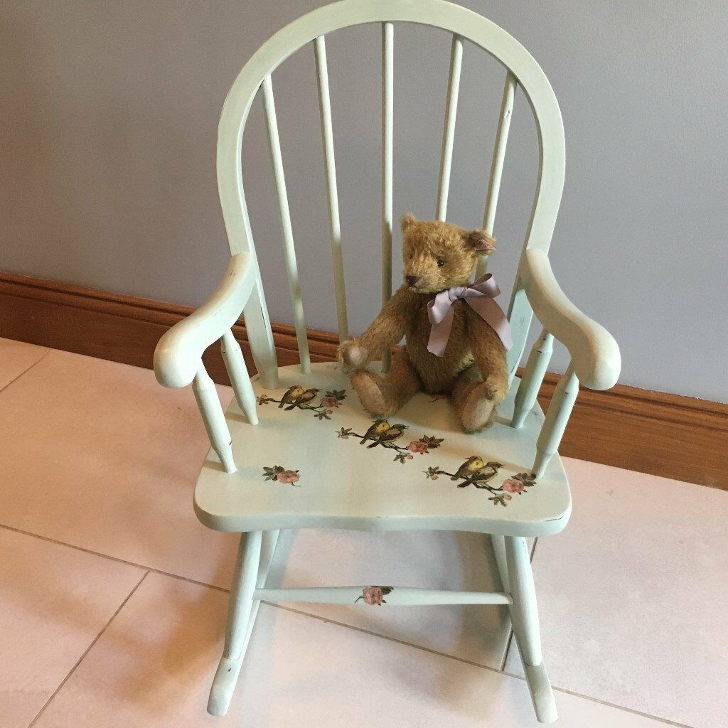 Shabby chic painted rocking chairs - Shabby Chic Furniture Small Kids Rocking Chair Painted Laurel Green Chalk Paint With