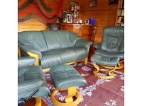 Ekornes three piece leather suite