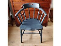 Captains chair. Antique chair. Smokers chair. Bow chair. Office chair. Vintage painted chair.