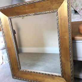 Mirror, antiqued gilt frame