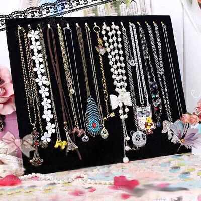 Large Velvet Earring Necklace Chain Display Stand Holder 17 Hooks & Easel US