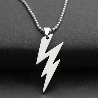 STAINLESS STEEL LIGHTNING BOLT NECKLACE 316L Metal Pendant 70cm Ball Chain NEW 316l Steel Pendant Chain