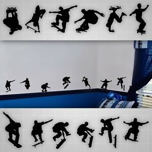 Skateboarder-wall-decals-boys-room-silhouette-wall-stickers-skate-decal-lot