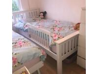 WHITE WOODEN BED/GUEST BED