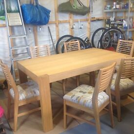 Like new- Dining table and six chairs.