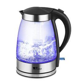 Glass Kettle Fast Boil 360°Cordless Electric Kettle - 1.8L, Blue LED Illumination
