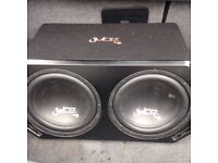 """Juice Dual 12"""" Subwoofers With Built in Amplifier"""