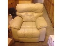 Cream leather 2 seater recliner sofa, chair and pouffe