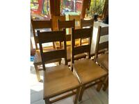 Solid oak dining chairs x 8