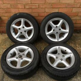 "MAZDA MX5 MK2 1998-2004 SET OF 4 14"" ALLOY WHEELS WITH 185/60/R14 TYRES"