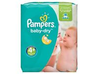 Pampers Baby-Dry Nappies Size 4+, 76 pk £7, or 2 for £13 (would cost u £18 for 2 at Tesco)
