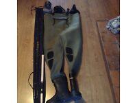 Fishing gear, Waders, Salmon Rod,