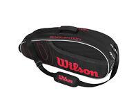 New Wilson Pro 6 Racket Bag (Black/Red) RRP £49.99