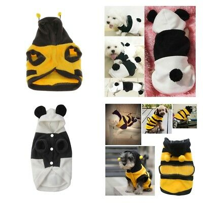 Pet Dog Cat Puppy Warm Hoodie Coat Cute Bee/Panda Costume Apparel For Small Dog