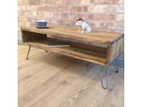 Rustic Industrial Reclaimed Wood Style Vintage Retro Coffee Table / TV Cabinet with Hairpin Legs