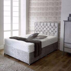 💗💖 BRAND NEW 💗💖 DOUBLE CRUSH VELVET DIVAN BED WITH 1000 POCKET SPRUNG MATTRESS