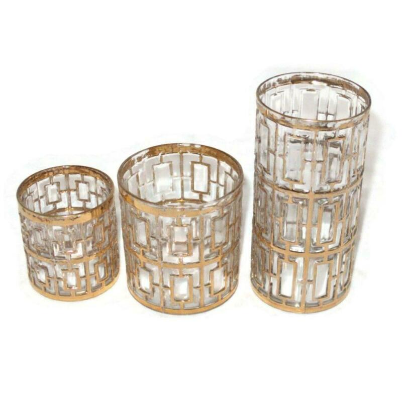 Imperial SHOJI Mid Century Modern Gold Tumbler, Rock & Cocktail Glass  LOT OF 3
