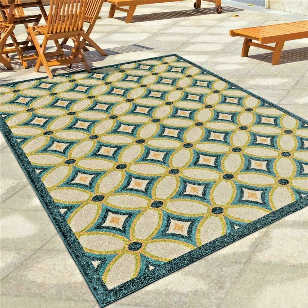Details About Rugs Area Rugs 8x10 Outdoor Rugs Indoor Outdoor Carpet Blue Big Cool Patio Rugs