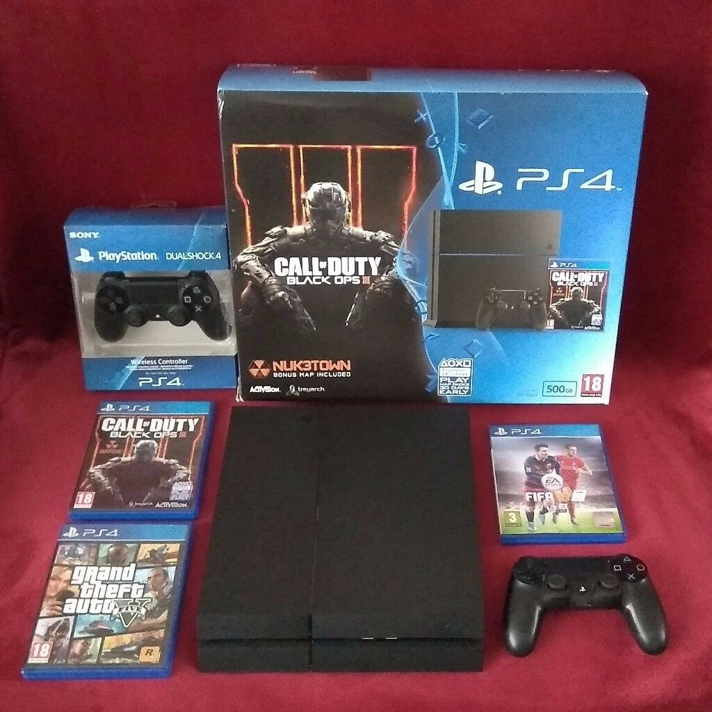 PS4 500gb console & GTA V, COD Black Ops 3, Fifa 16, 2 controllers, cables & box
