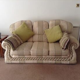 Sofa, chair and matching poufee with storage