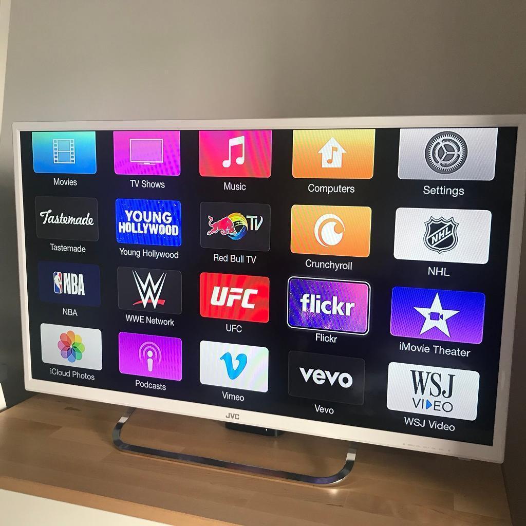 """JVC LT-32C461 32"""" LED TV - White & APPLE TV FOR SALE"""