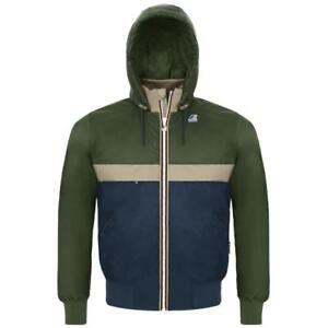 K-Way Jacket Le Vrai Remake 145 Padded K007FX0 946 (Size L / Green-Beige-Blue) - Regular Fit