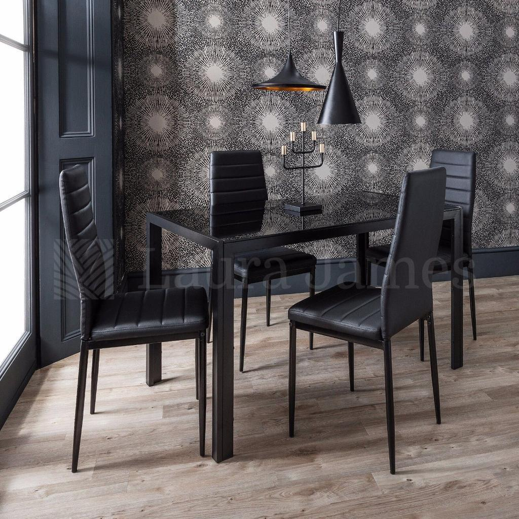 Dining Tablesin East London, London - FEATURESBrazilian black glass table Italian Leather Upholstered Chairs Easy home assembly COLOURSJet Black Price with 4 chairs 159 DIMENSIONSTable 4 chair 1200 X 800 X 750 mm Chairs 440 X 430 X 960 mm Cash on delivery Click see all ads to see our...