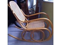 Rare Large Vintage Bohemian Thonet? Bentwood Rocking Chair Wicker Cane Wood / Can Deliver
