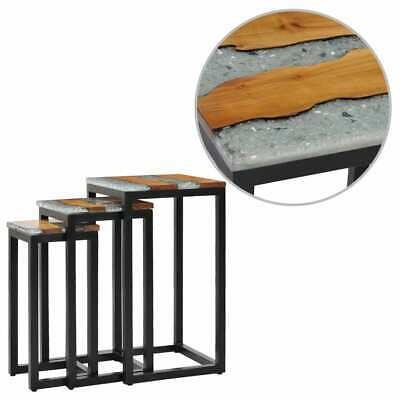 vidaXL Nesting Tables 3 pcs Solid Teak Wood and Polyresin Unique End Couch