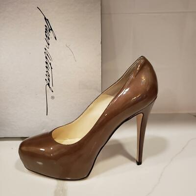 Brian Atwood MANIAC Patent Leather Glass Platform Heels Pumps Shoes Cognac (Atwood Glasses)