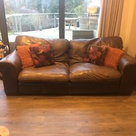 2 large 3 seater real leather sofas and large footstool