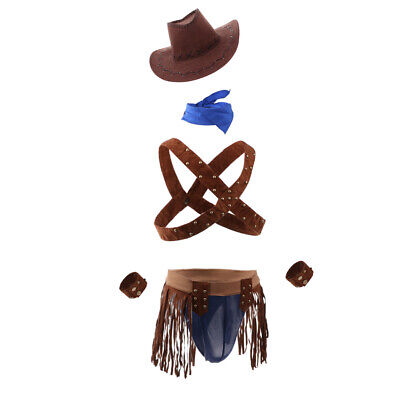Sexy Men's Cowboy Uniform Cosplay Underwear Costume Fancy Two Piece Outfit - Cowboy Outfit For Men