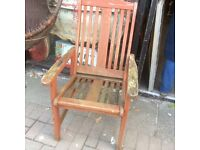 Wooden garden chair with arms