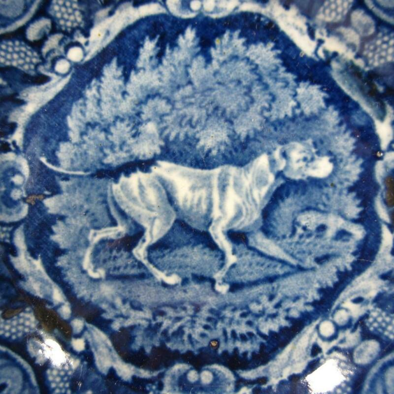 Antique Staffordshire Dark Blue Transferware Pearlware Bowl w/ Hunting Dog