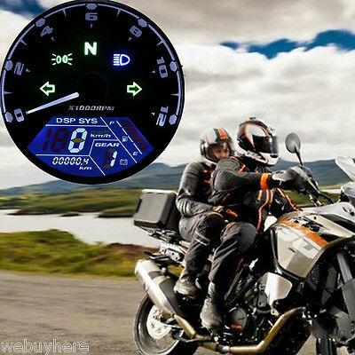 Universal Digital LCD Motorcycle ATV Odometer Speedometer Tachometer MPH Gauge
