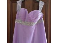 2 lilac floor length bridesmaid dresses