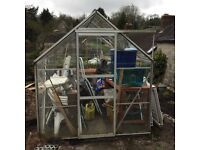 Green house 8ft x6 ft. With wooden staging.