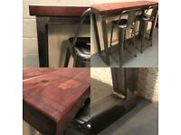 Breakfast bar/Bespoke/2x stools/industrial/Rustic/Kitchen/bistro/coffee shop/bar/pub