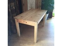 Rustic Farmhouse Kitchen Dining Table with long drawer